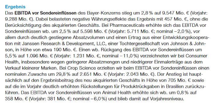 EBITDA vor Sondereinflüssen - Bayer-Stellungnahme zum Ergebnis