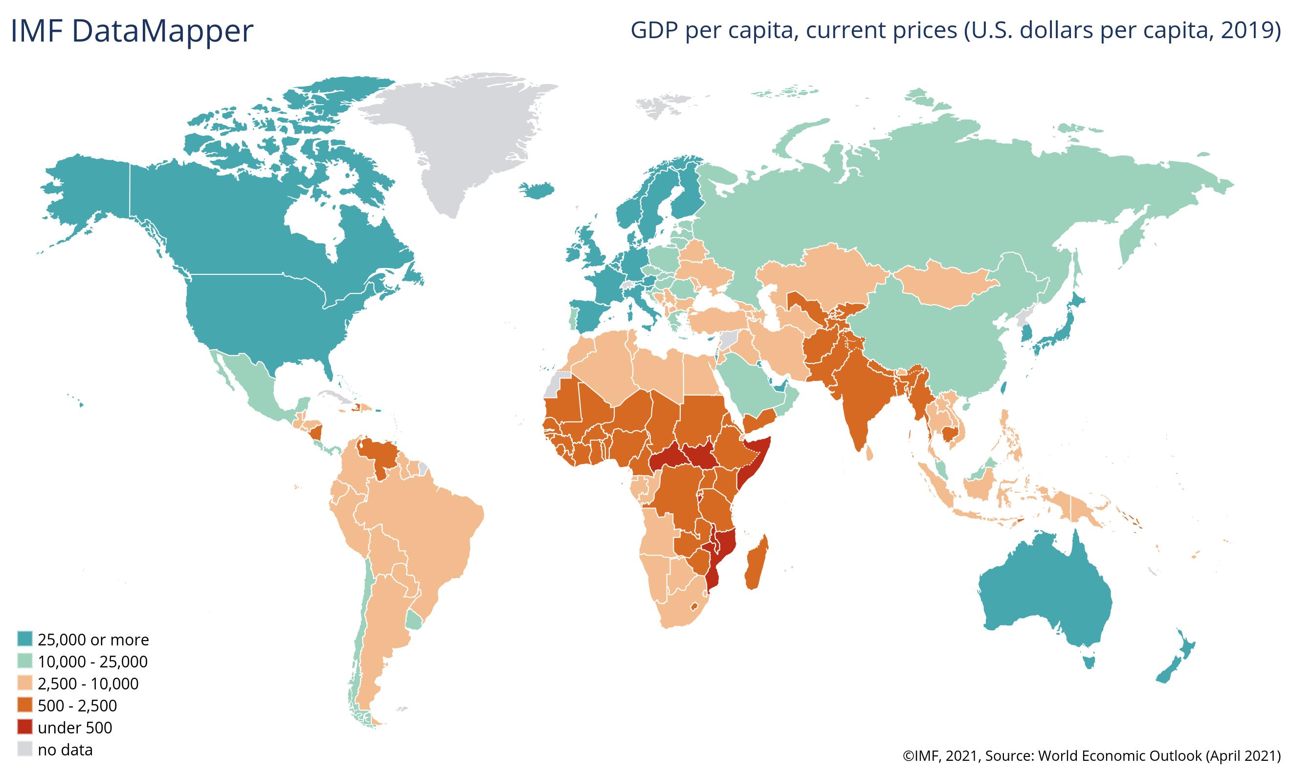 Pro-Kopf-BIP einzelner Länder im Jahr 2019